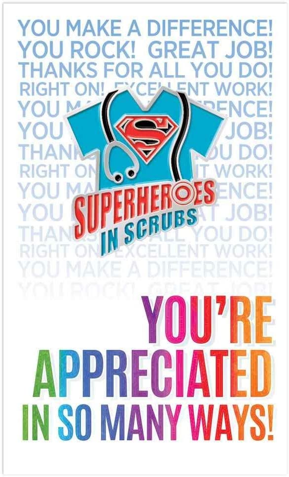 25 per Pack Superheroes in Scrubs Lapel Pins with Presentation Gift Cards for Health Professionals Appreciation
