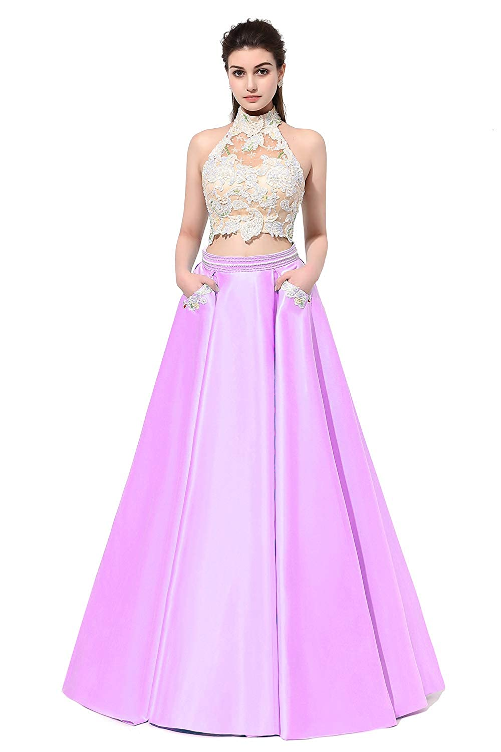 Lavender SDRESS Women's Beaded Lace Appliques 2 Piece Prom Homecoming Dress Pockets