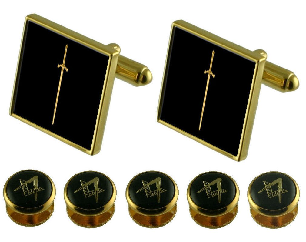 Tyler Gold Cufflinks Masonic 5 Shirt Dress Studs Box Set