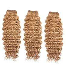 """Double Drawn 16"""" 339g/3Bundles New Deep Wave Curly Hair Weft for Black Women 7A+ 100% Real Natural Brazilian Virgin Remy Human Hair Weave Extensions Full Head Latte Blonde(#27)"""