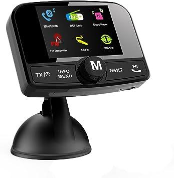 Signstek Car Dab Dab Dab+ Radio Bluetooth FM transmisor Receptor Bluetooth y Reproductor Micro SD Manos Libres función de Llamada con Antena Activa y ...