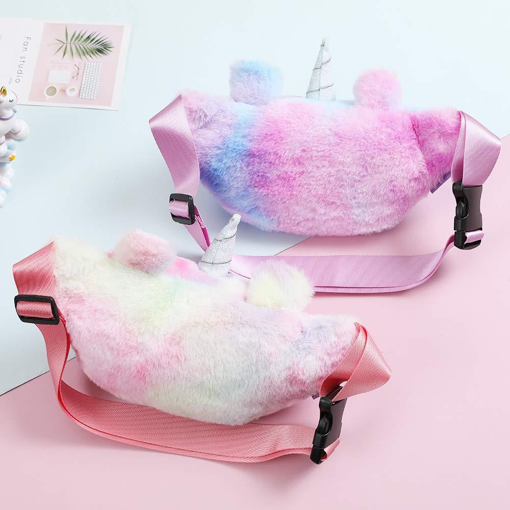 Fanovo Kids Girls Cute Fanny Pack Unicorn Waist Bag Plush Belt Bag Chest Bag Small Shoulder Bag (Plush - 2# Rainbow)