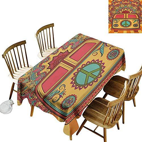 70s Party Wrinkle Resistant Tablecloth Hippie Vintage Mini Van Ornamental Backdrop with Peace Sign Artwork Excellent Durability W52 x L70 Coral Orange Turquoise