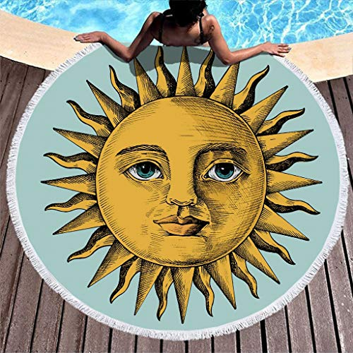 KASTLEE Soft and Thick Round Beach Towel with Tassel Sun Printed Mandala Beach Bath Picnic Playing Mat Water Absorbent Multi-Purpose Yoga Mat Cover Scarf Tablecloth White 59inch