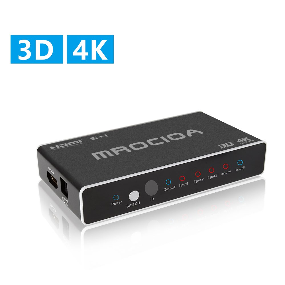 MROCIOA Hdmi Switch, 5 In - 1 Out 4K and 3D High Speed Hdmi Switcher Box with Remote, The 5 Port Hdmi Selector Splitter for PS4 / Xbox One/ Fire TV/ Apple TV / SKY BOX / STB / DVD / Laptop / Blue ray