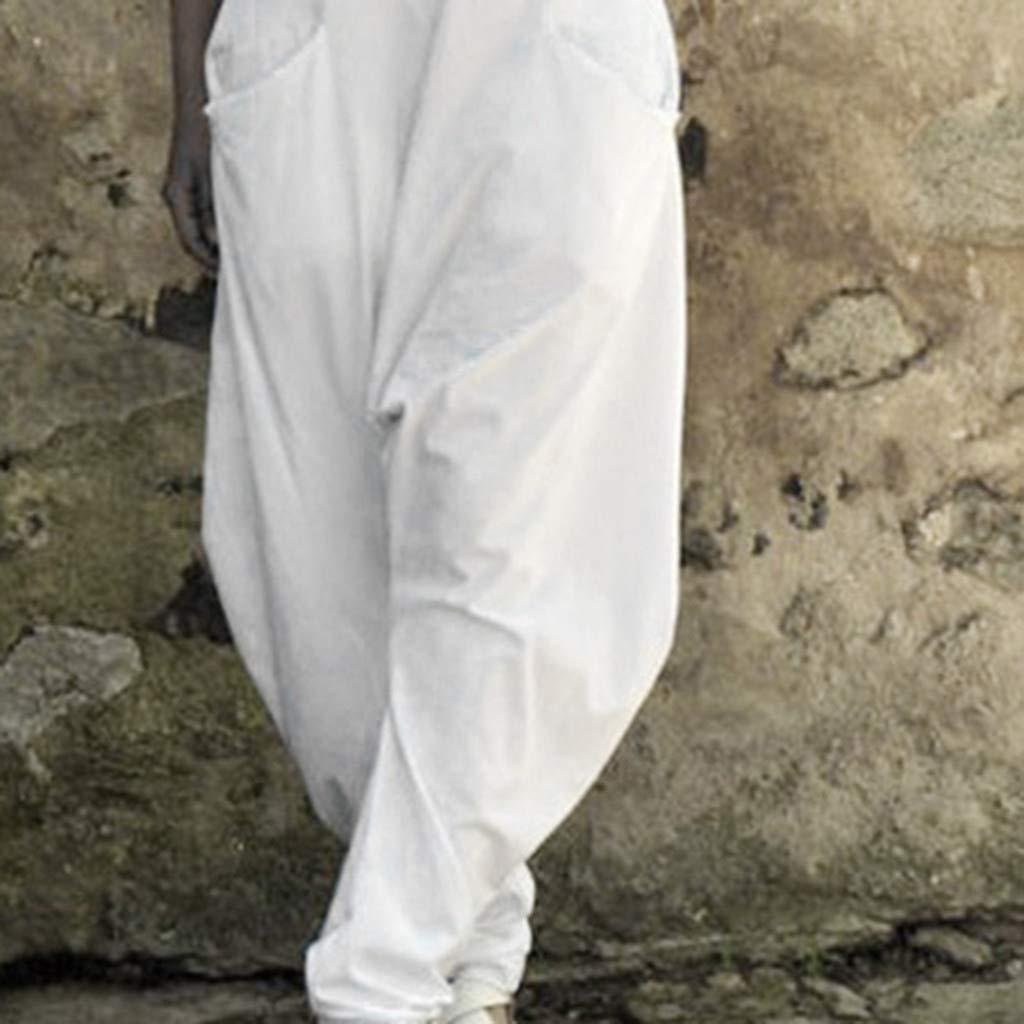 Latzhose Beil/äufig Damen Haremshosen L/ässige Leinen Jumpsuit Retro Overalls Lange Wide Leg Hosen Lose Bib Hose Baggy Sommerhose Playsuit Mit Taschen