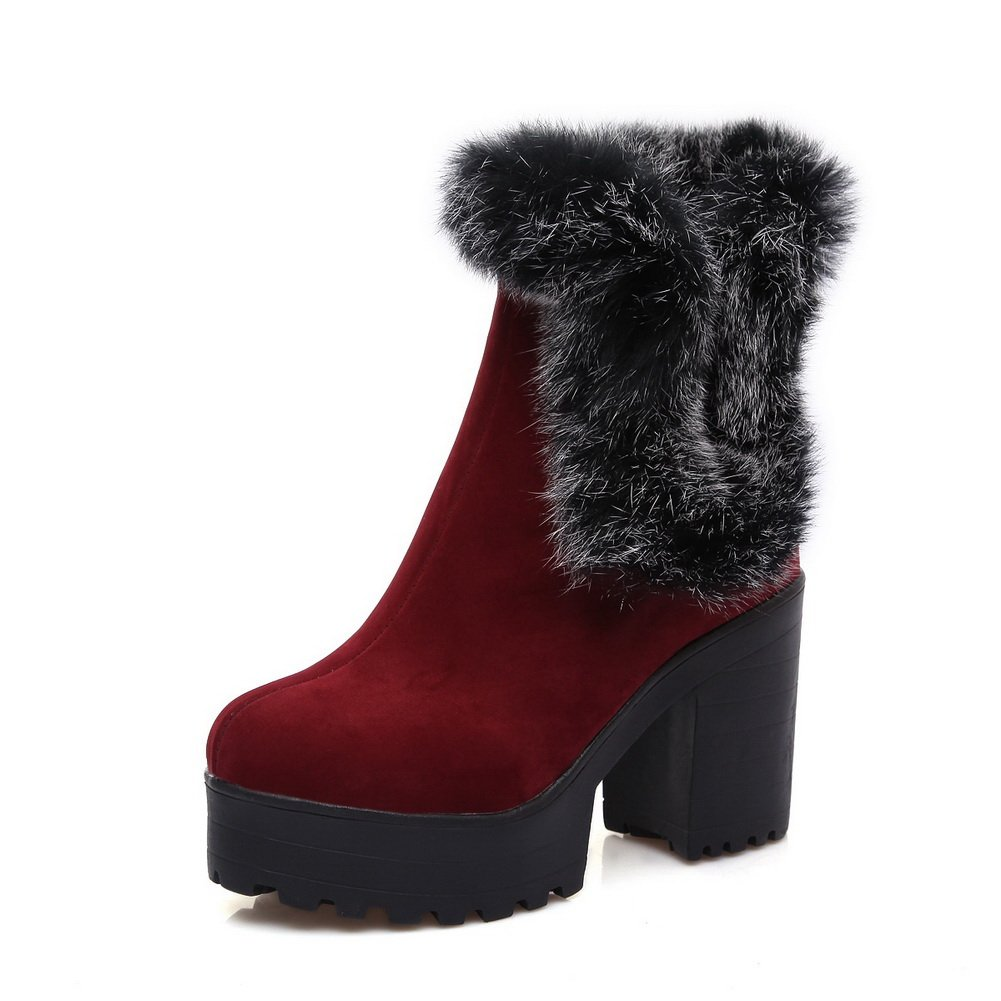 Ladies Bandage Fur Ornament Platform Frosted Boots