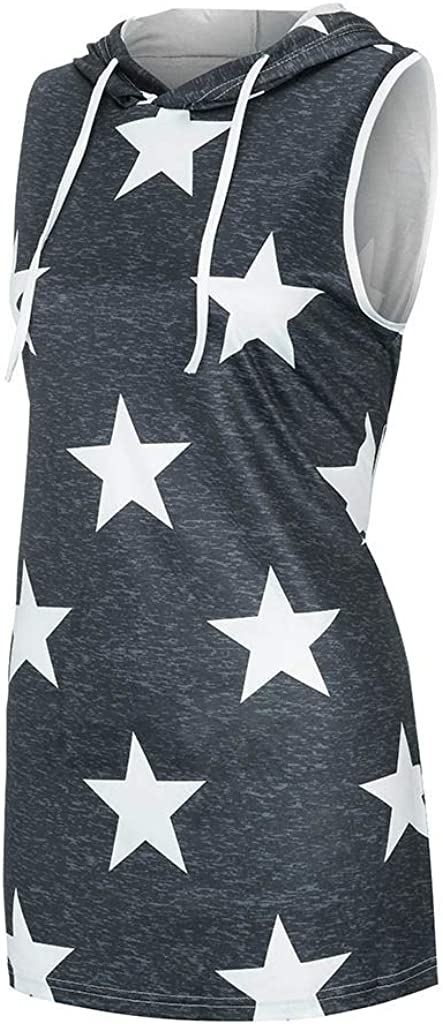 Leaf2you Womens Hooded Tank Tops Summer Fashion Stars Print Drawstring Sleeveless T-Shirt Loose Fit Tunic Tops Hoodie Vest