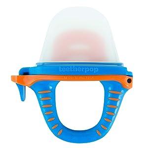 teetherpop Fillable, Freezable Baby Teether for Breastmilk, Purees, Water, Smoothies, Juice & More (BlueOrange)