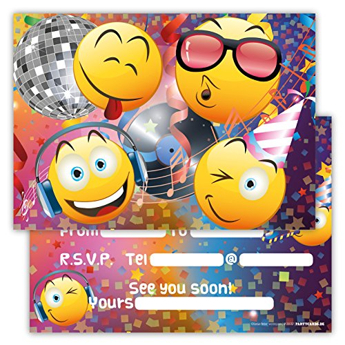 Funny Birthday Invitations Set of 12 Cards for Boys Girls Kids Disco Party with Smiley Emoji Postcard Invitations Greetings fill-in Set Pin Vinyl