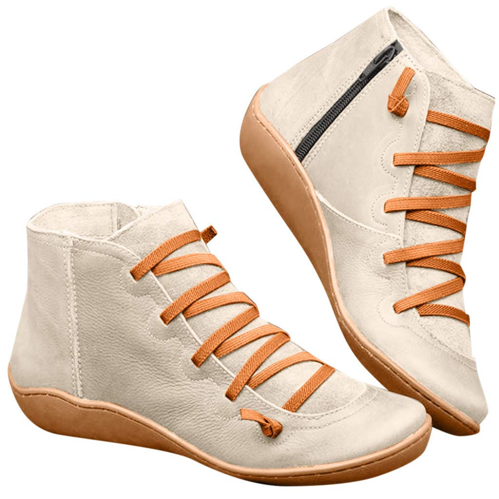 Arch Support Boots Women's Leather Comfortable Damping Shoes Side Zipper Platform Wedge Booties Casual Shoes (Beige, US:8.5) by Todaies