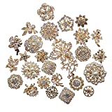 L'vow Silver Color Sparking Wedding Bridal Crystal Pearl Brooches Bouquet Kit Pack of 30(gold)