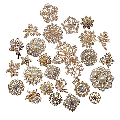 Large Pearl Brooch (L'vow Silver Color Sparking Wedding Bridal Crystal Pearl Brooches Bouquet Kit Pack of 30(gold))