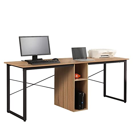 Pleasing Soges Large Dual Desk 2 Person Workstation Desk 78 Inches Double Computer Desk With Storage Box Home Office Desk Writing Desk Teens Desk Oak Download Free Architecture Designs Licukmadebymaigaardcom