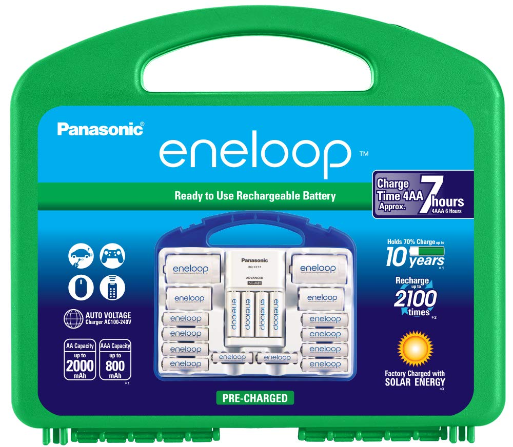 Panasonic K-KJ17MC124A eneloop Super Power Pack 12AA, 4AAA, 2 C Adapters, 2 D Adapters, ''Advanced'' Individual Battery Charger and Plastic Storage, (Case Color May Vary)