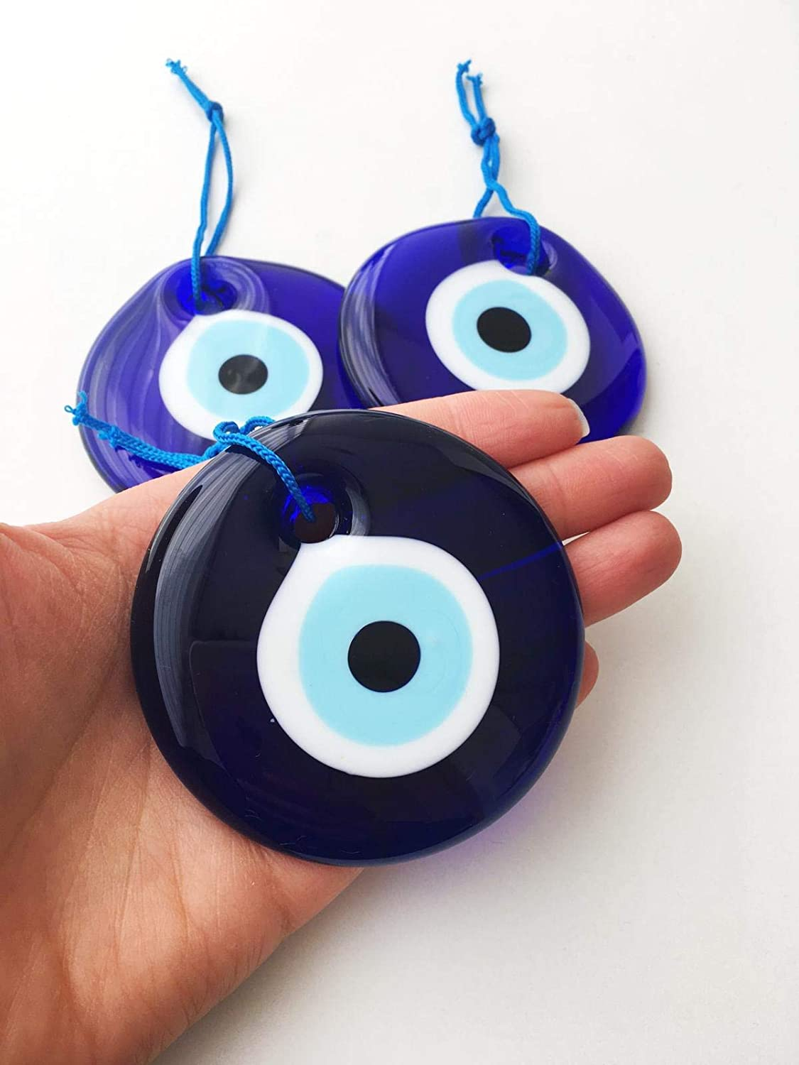 Luos Cultural Goods Evil Eye Home Protector - Glass Beads, Good Luck Charm, Doorway, Home Decoration, Wall Hanging, Gift Item, 2.75 Inches Wide