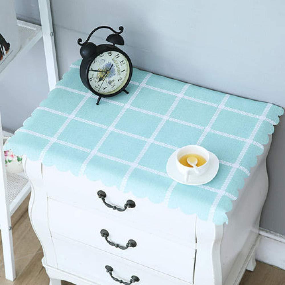 WJJYTX tischdecke Plastik, Nachttischdecke Abwischbare Vinyl-Tischdecke Stilvolles Muster Wasserdicht Kleines Quadrat Grün @ 50 * 60