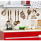 Decals Design 'Stylish Kitchen' Wall Sticker (PVC Vinyl, 60 cm x 45 cm, Brown)