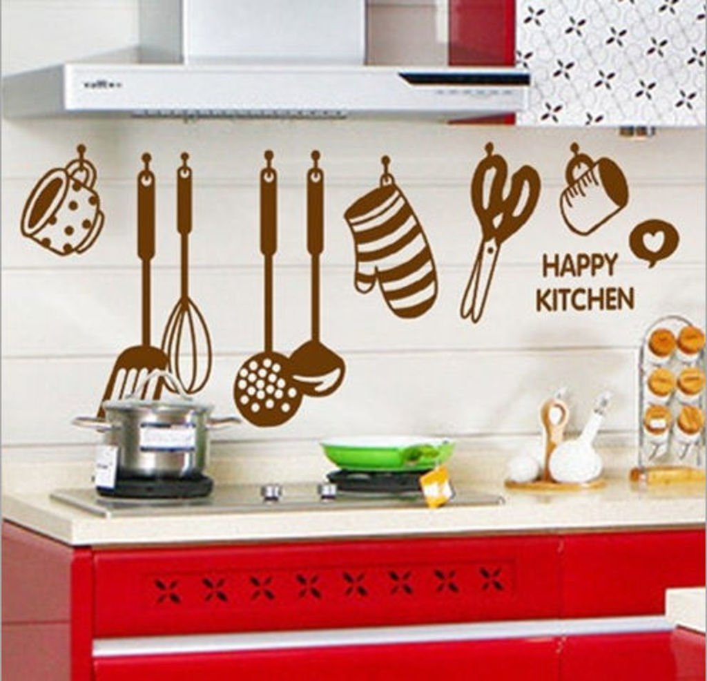 Designer oil proof sticker fixed to the wall is shown in the image,an amazing kitchen tool