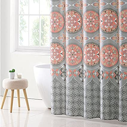 VCNY Home Medallion Shower Curtain 72x72 Coral