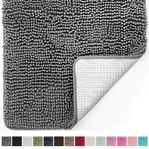 Gorilla Grip Original Luxury Chenille Bathroom Rug Mat (30 x 20), Extra Soft and Absorbent Shaggy Rugs, Machine Wash/Dry, Perfect Plush Carpet Mats for Tub, Shower, and Bath Room (Gray) - Americana Decor