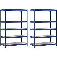 7H SEVEN HOUSE Pack 2 Estanterías Modulares Azul con 5 Baldas Ajustables 180x120x60cm 1250Kg 7house