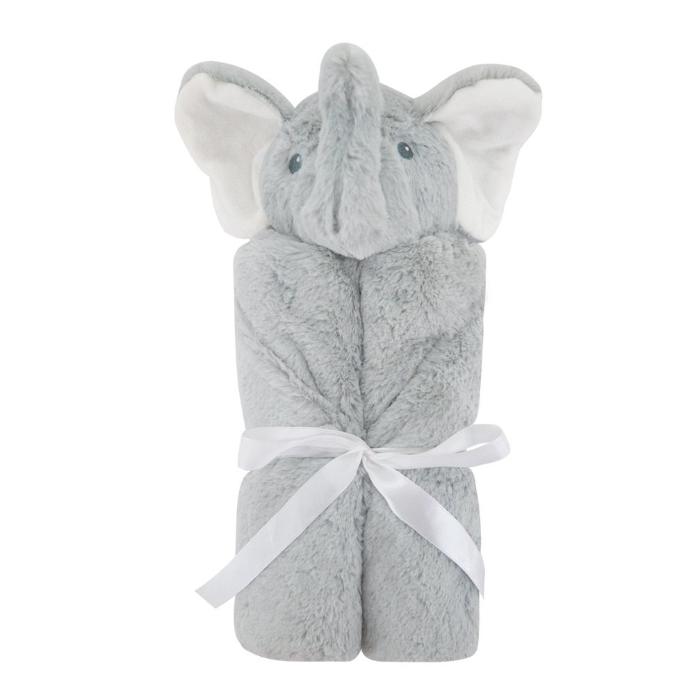 Baby Blanket Baby swaddle blankets Animal head blanket Four seasons available blanket(76X76cm) (Gray-Elephant)