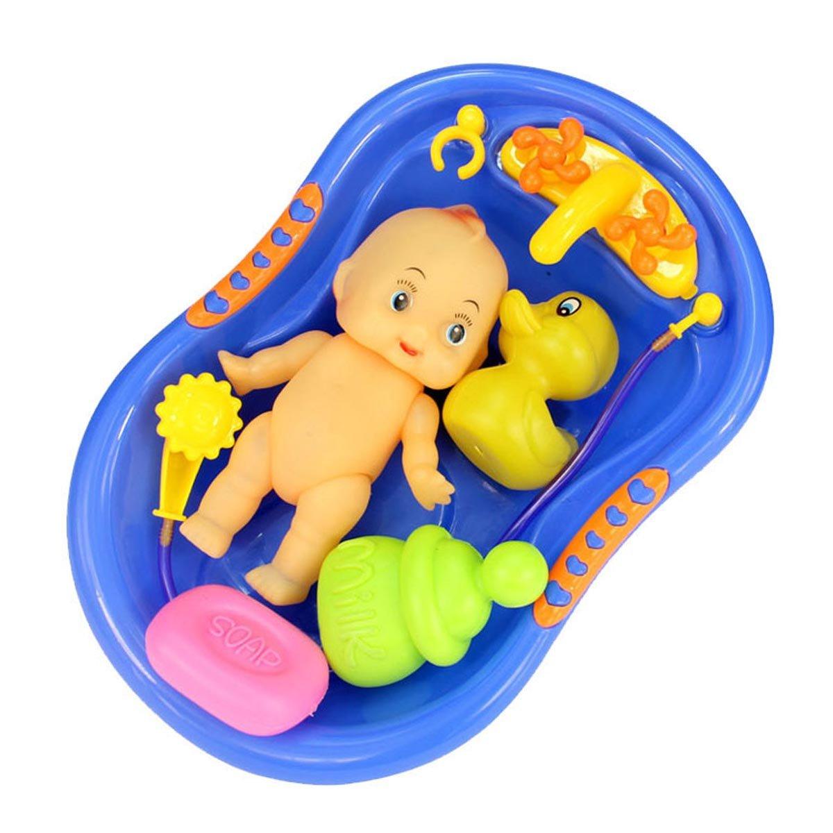 Vococal - 6 piezas Muñeca Bebé Plástico en Bañera Tina de Baño con Set de Accesorios de Ducha / Finja el Juego Juguete para Kid Niños, Color al Azar