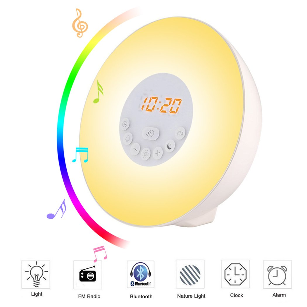 Lichtwecker , SIEGES Wecker Wake Up Light Sonnenaufgang Simulator Wecker mit Bluetooth 4.0 Lautsprecher , FM Radio AUX Nature Sounds Touch Control 7 Farben beleuch