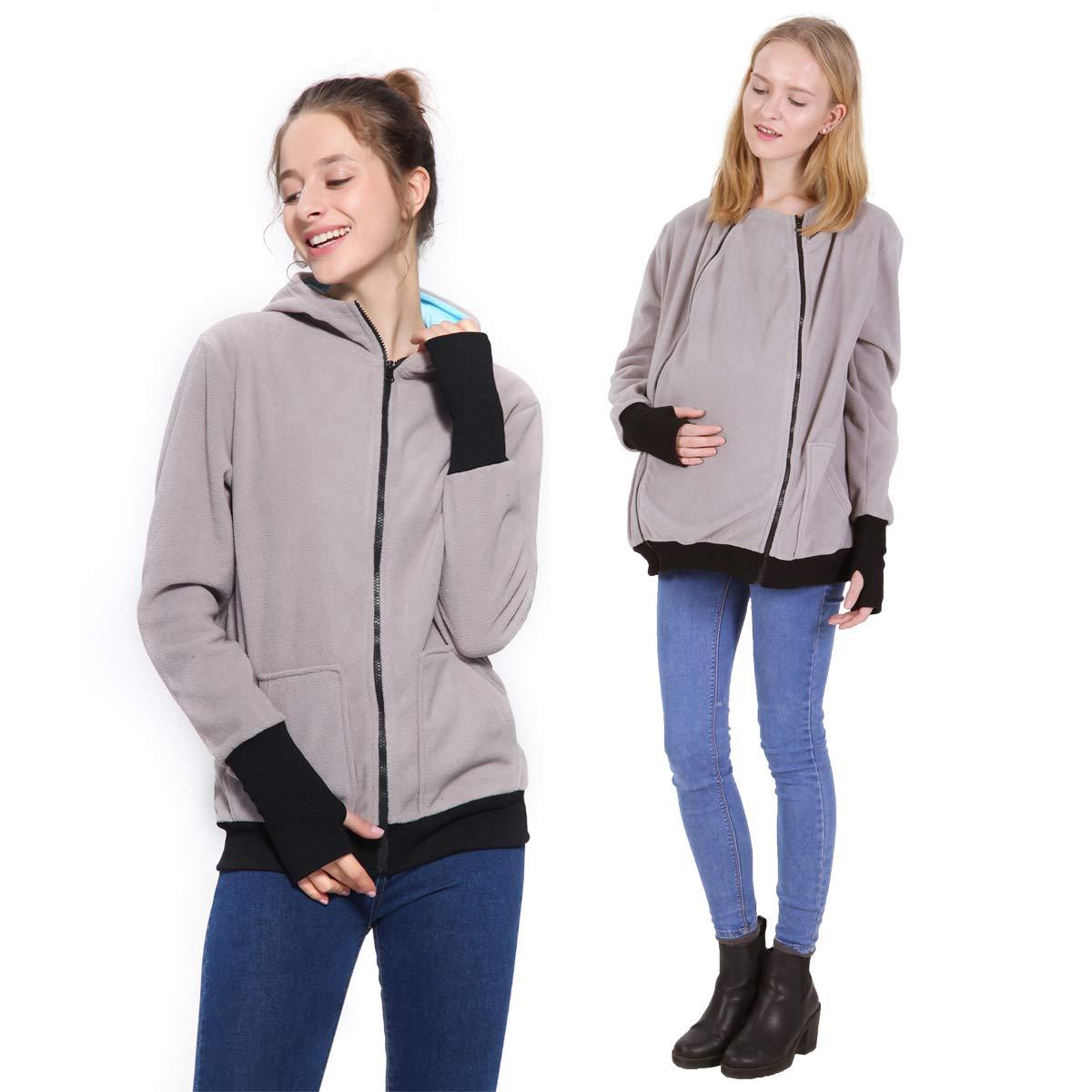 Womens Maternity Hoodie Polar Fleece Sweatshirt, 2 in1 Soft Zipper Up Jacket for Mom (Light Grey, 2XL/3XL)