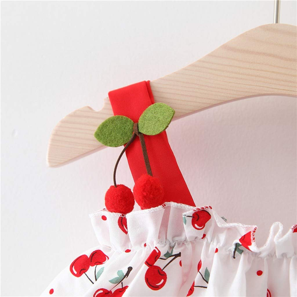 Baby Girls Sleeveless Bow Cherry Print Dress 3 Years wuayi  Summer Girls Dresses Hat Casual Costume Clothing Outfits Clothes 6 Months