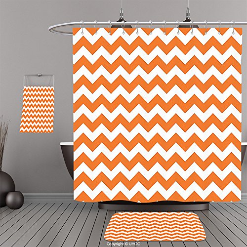 Uhoo Bathroom Suits & Shower Curtains Floor Mats And Bath TowelsChevron Decor Halloween Pumpkin Color Chevron Traditional Holidays Autumn Celebrate For Bathroom