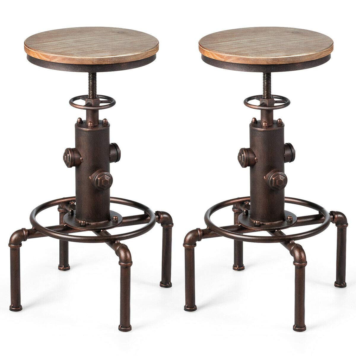 COSTWAY Industrial Bar Stool, Antique Vintage Round Stool Height Adjustable Backless Swivel Counter Furniture Metal, Modern Wooden Barstools, Ideal for Restaurant, Cafe, Pub, Home (Bronzed, 2 Stools) by COSTWAY