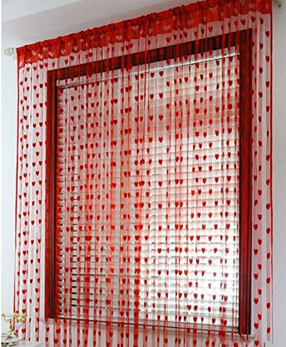 Ramcha Heart String 2 Piece Polyester Door Curtain - 6.5ft, Red