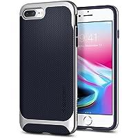 Spigen Neo Hybrid Herringbone Serisi Kılıf iPhone 7 Plus / 8 Plus ile Uyumlu / TPU AirCushion Teknoloji / Ekstra Koruma - Satin Silver