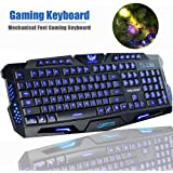 Gaming Keyboard, SOKATON M-200 Mechanical Feel Gaming Keyboard, LED Three Color Backlit USB Wired Game Keyboard (Black)