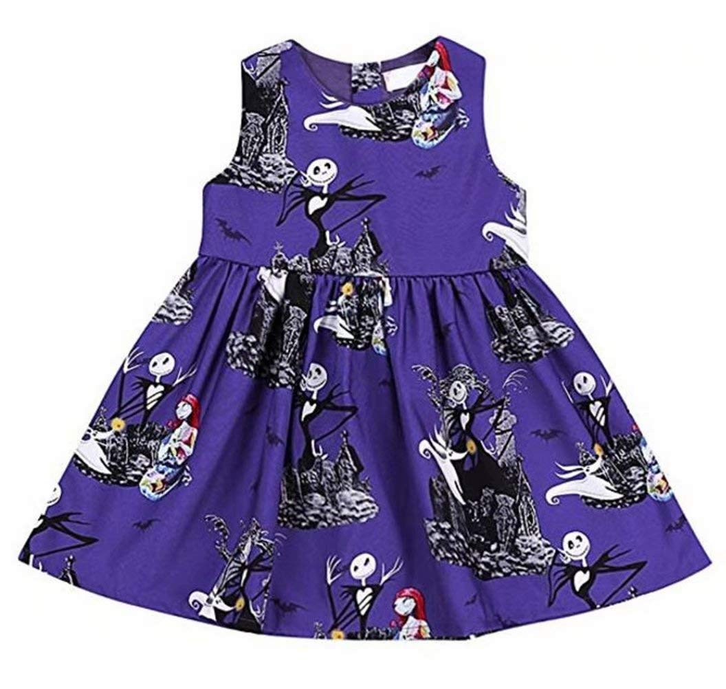 SUPEYA Toddler Baby Girls Skull Print One-piece Sleeveless Dress Halloween Outfits size 3-4 Years/Tag110 (Purple)