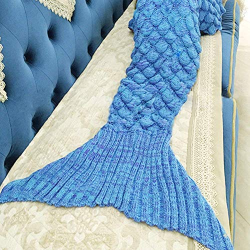 TONGQING Mermaid Tail Blanket, Crochet Knitted Sleeping Bag Sofa Bedding Cozy Blankets for Girls Adults Kids All Season