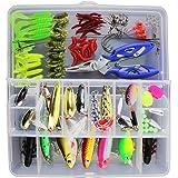 Kit de iscas de pesca VORCOOL com 101 peças, caixa completa de equipamentos de pesca, incluindo spinners VIB, ganchos agudos,