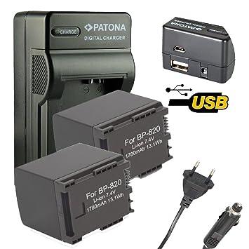 4en1 Cargador PATONA + 2x Bateria para Canon XA20, XA25 ...