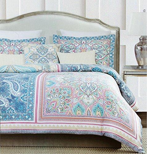 Vintage Scarf Blue Mandala Tapestry Duvet Quilt Cover Modern Bohemian Patchwork Bedding Set by Envogue, Aquamarine Navy Teal Indian Damask Medallion Paisley Print Design (Queen, Coral Jewel)
