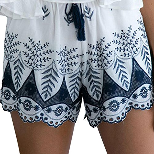 Elevin(TM)2017 Women Summer Lace Embroidery Bohemian Beach Casual Shorts Hot Pants (S, White)