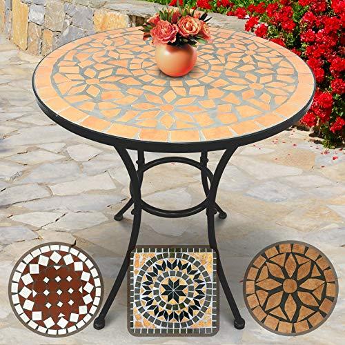 Tavoli In Mosaico Da Giardino.Jago Tavolo Mosaico Rotondo O60cm Altezza 70 Cm Marrone Nero