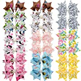 LCLHB 20 Piece 3'' Baby Girl Printed Personalized Ribbon Bow With Clips For Hair
