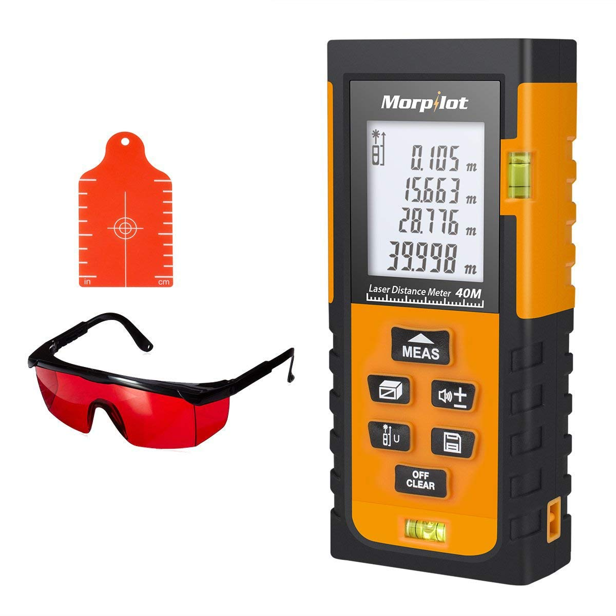 131ft Laser Measure - Morpilot Laser Tape Measure with Target Plate & Enhancing Glasses, Laser Measuring Device with Pythagorean Mode, Measure Distance, Area, Volume Calculation