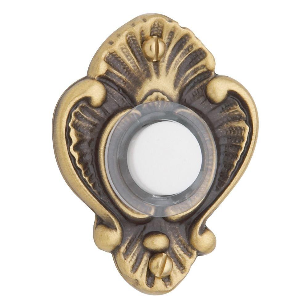 Baldwin 4857060 Victorian Bell Button, Antique Brass with Brown Top Notch Distributors Inc. (Home Improvement)