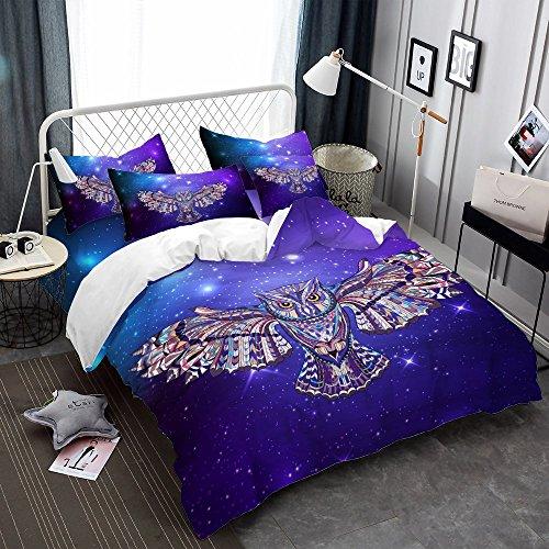 (Quilt Cover Full Size,Purple Owl Duvet Cover Set Full Size,Comforter Set Bedding Set Full 3 Piece(1 Duvet Cover + 2 Pillowcases))