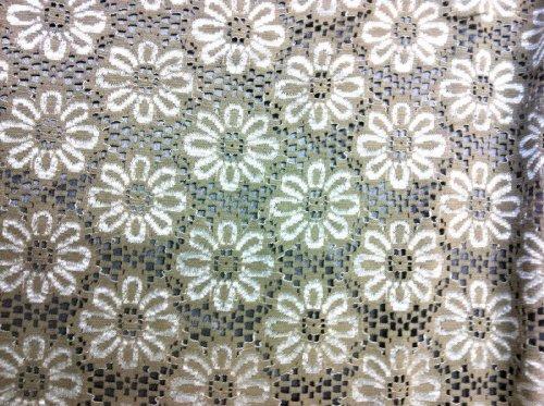 """49"""" w Beige Flower sixty style daisies sprinkled on a darker beige background"""