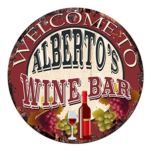 Welcome to the ALBERTO'S WINE BAR Chic Tin Sign Rustic Shabby Vintage style Retro Kitchen Bar Pub Coffee Shop man cave Decor Gift Ideas