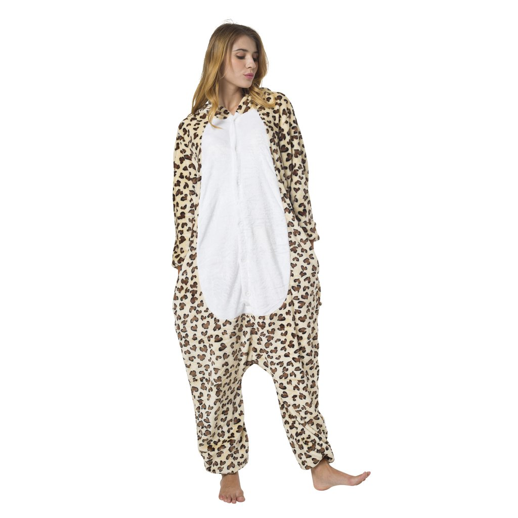 Leopard Kost/üm-Anzug Onesie//Jumpsuit Einteiler Body f/ür Erwachsene Damen Herren als Pyjama oder Schlafanzug Unisex viele verschiedene Tiere Katara 1744